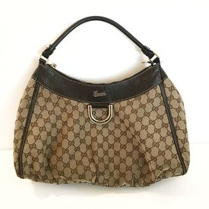 GUCCI GG Canvas D Ring Gold Hobo Bag Authentic